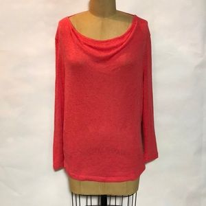 Pink Fine-Knit Top with Open Upper Back